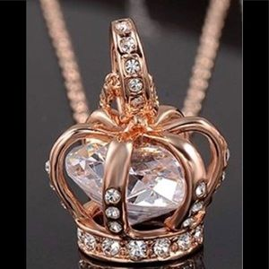 Queen Crown 👑 18K Rose Gold Plated Necklace CZ